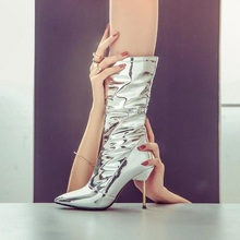Hot Selling Silver Mirror Leather Mid Calf Boots Pointed Toe Metal Stiletto High Heels Ladies Runway Boots Shoes Real Photo цена 2017