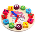 2015 Hot Sale Children Wooden Multicolour Figure Shape Clock Toy Building Blocks Toys For Kids Early Education Plaything