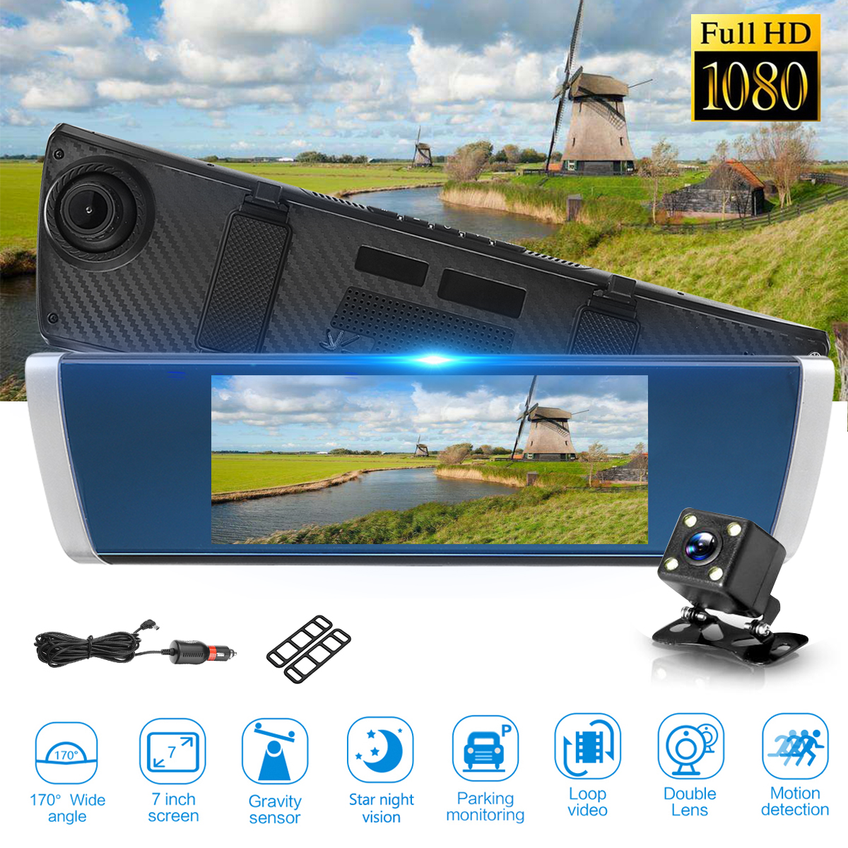 7 LCD Screen Car DVR Camera Rearview Mirror Auto DVRs Dual Lens Video Recorder Registrator FHD 1080P Night Vision Dash Cam 1pcs car rearview mirror dvr driving video recorder mount holder for xiaomi yi dash cam registrator bracket for yi camera dvrs