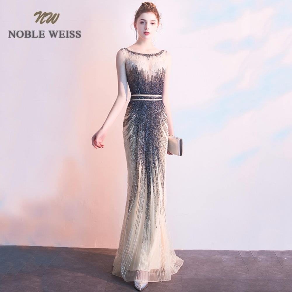 NOBLE WEISS Real Sample O-Neck Heavy Beaded Sexy Evening Party Tulle Mermaid Illusion   Prom     Dress   With Sweep Train