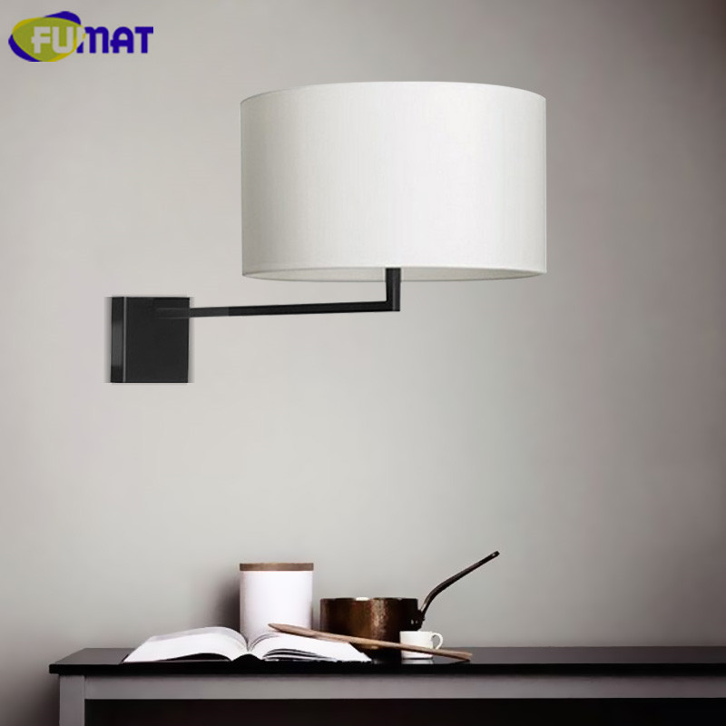 FUMAT Fabric Shade Wall Sconce Modern Bedroom Bedside Light American Wall Light Fixture Living Room Corridor Wall Lamp brief modern single head wall lamp indoor use porch light sconce corridor bedroom bedside lamp 220 e27 ceramic lamp shade