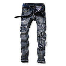 2017 Brand Designer Mens Ripped Jeans Retro Patches Straight Jeans for Male Y2045
