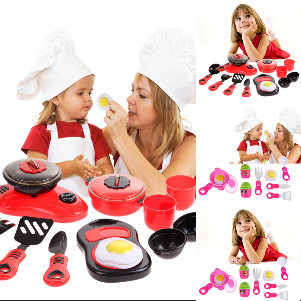 Kids Plastic Kitchen Ware Cooking Pretend Play Kitchen Toys Set Cooking Pans Dishes Toy Cookware Set Toys For Children Xmas Gift