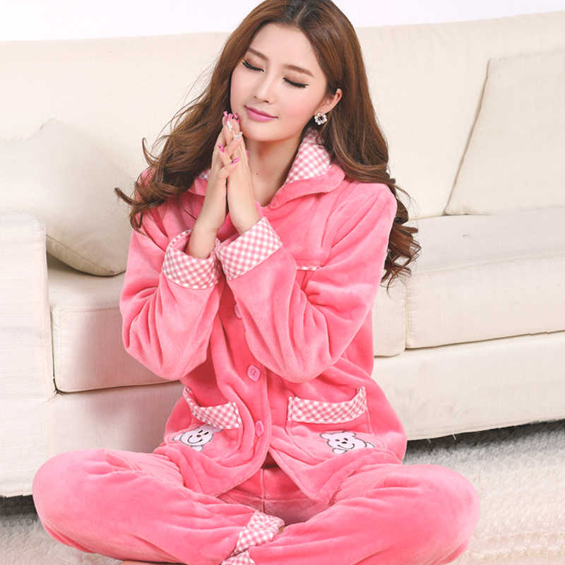 de6466571 ... Lady Pajamas Set Cartoon Bunny Pyjamas Flannel Plush Sexy Femme Long  Sleeve Pyjama 2019 Winter Pyjama ...