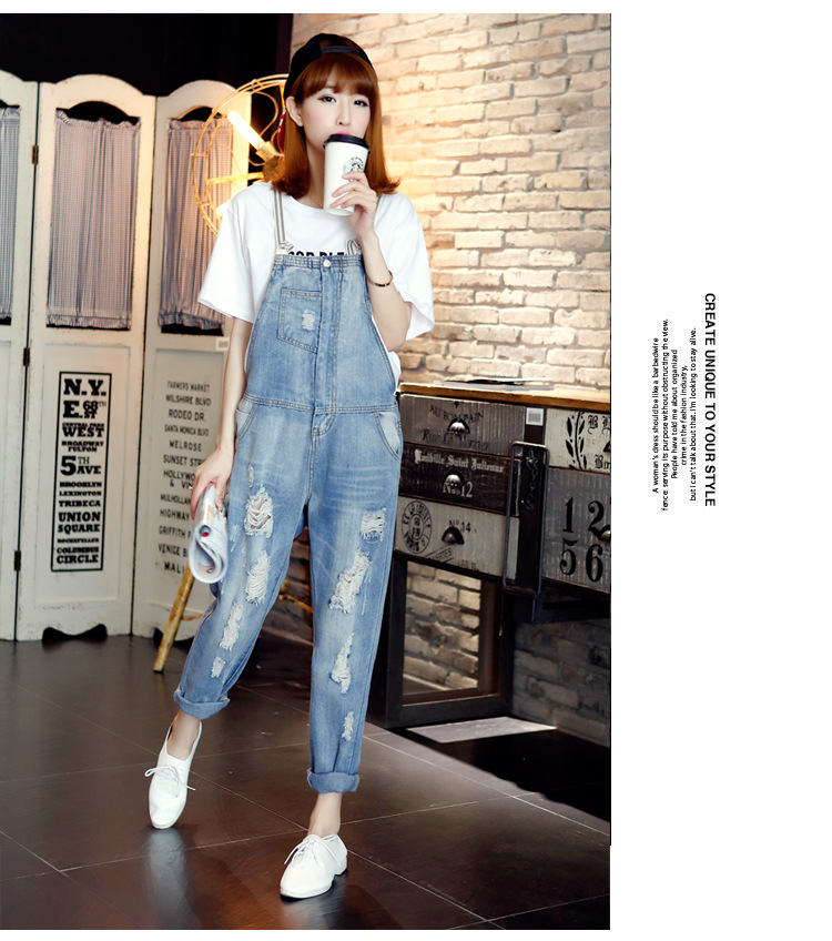 Top Fashion 2016 Summer Blue Color Pure Cotton Casual Women s Hole Ripped Scratched Vintage Overalls