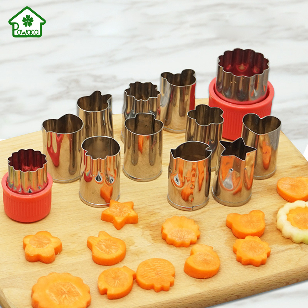 12pcset Stainless Steel Printing Patterns Cartoon Animal Shaped Vegetables and Fruit Cutting Die Butterfly Slices Cut Flowers
