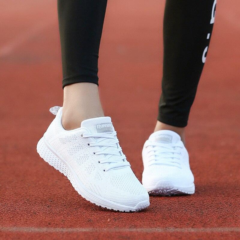 WENKOUBAN Femmes Chaussures décontracté Baskets Blanches Dames Entraîneur Air Maille Chaussures Tenis Feminino Sneaker Confortable D'été Panier Femme