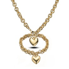 8mm High Quality Womens Girl Stainless Steel Gold Rolo O Link Chain Charms Heart Design Necklace And Bracelet Gift Jewelry Sets