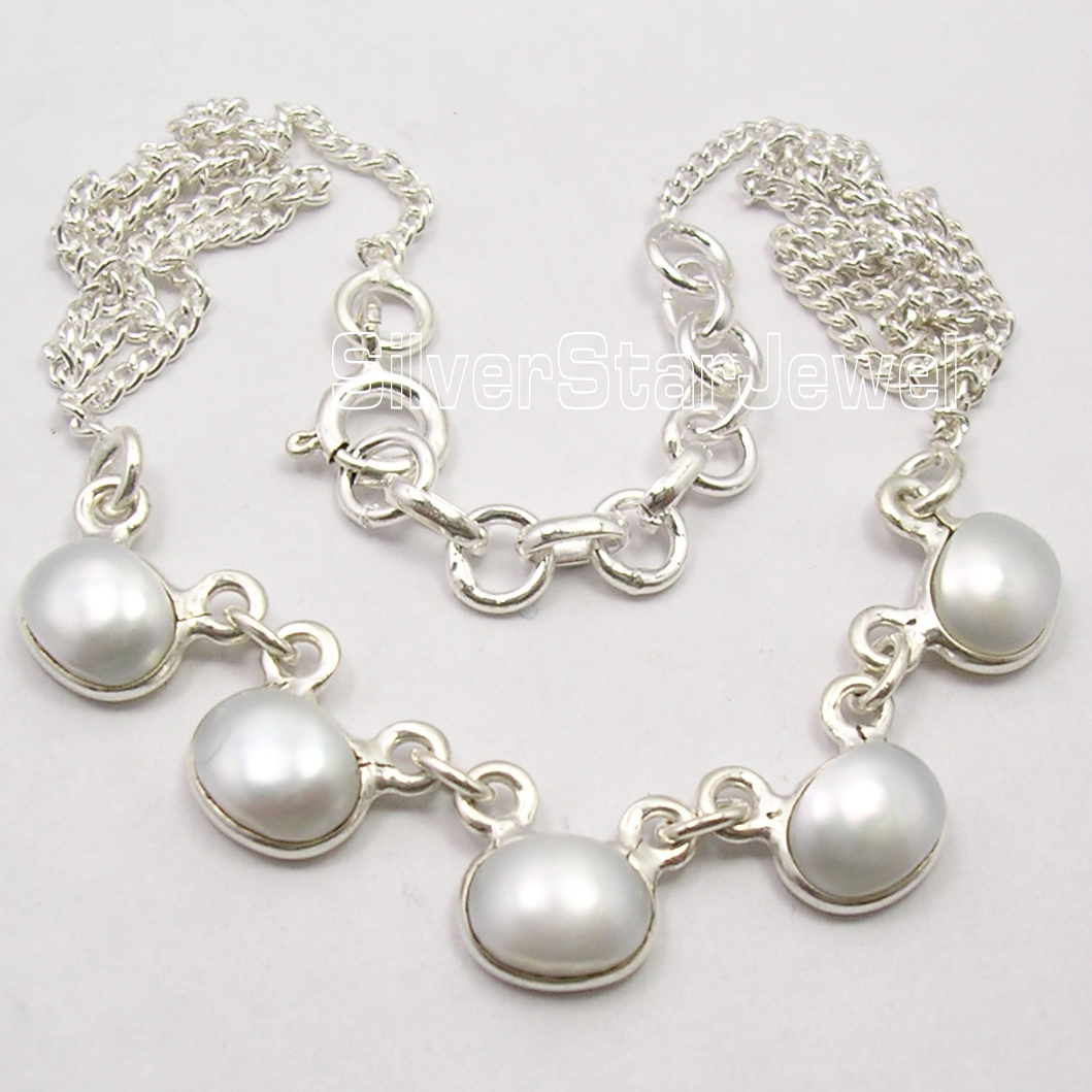 Chanti International Pure Silver AAA FRESH WATER PEARL MADE IN INDIA New Necklace 16 3/4 ARTISAN