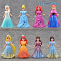 Elsa Anna Princess Ariel Snow White Aurora Belle Cinderella PVC Action Figure Give The Girl The Best Toys 10cm  8pcs/set CSDB13
