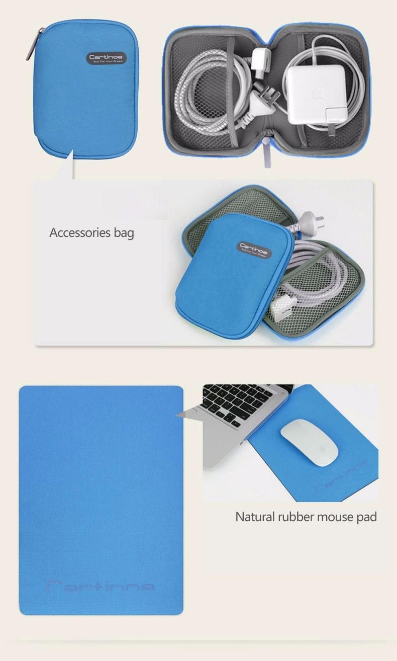Cartinoe אופנה בד אוקספורד 11,12,13,14 15.4 אינץ אוניברסלי נייד שקיות Macbook +שקית אביזרים Stylue עט הקופסא+משטח עכבר