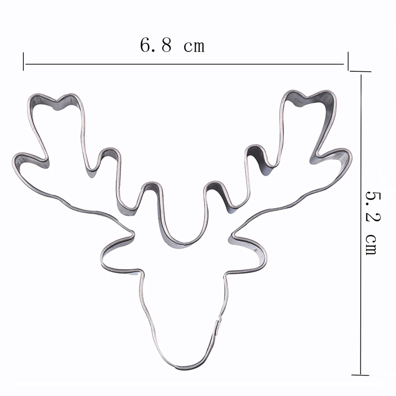 Happiness Deer head Reindeer christmas stainless steel cute cutting biscuit mould cake moulds fruit sugar mold baking tools