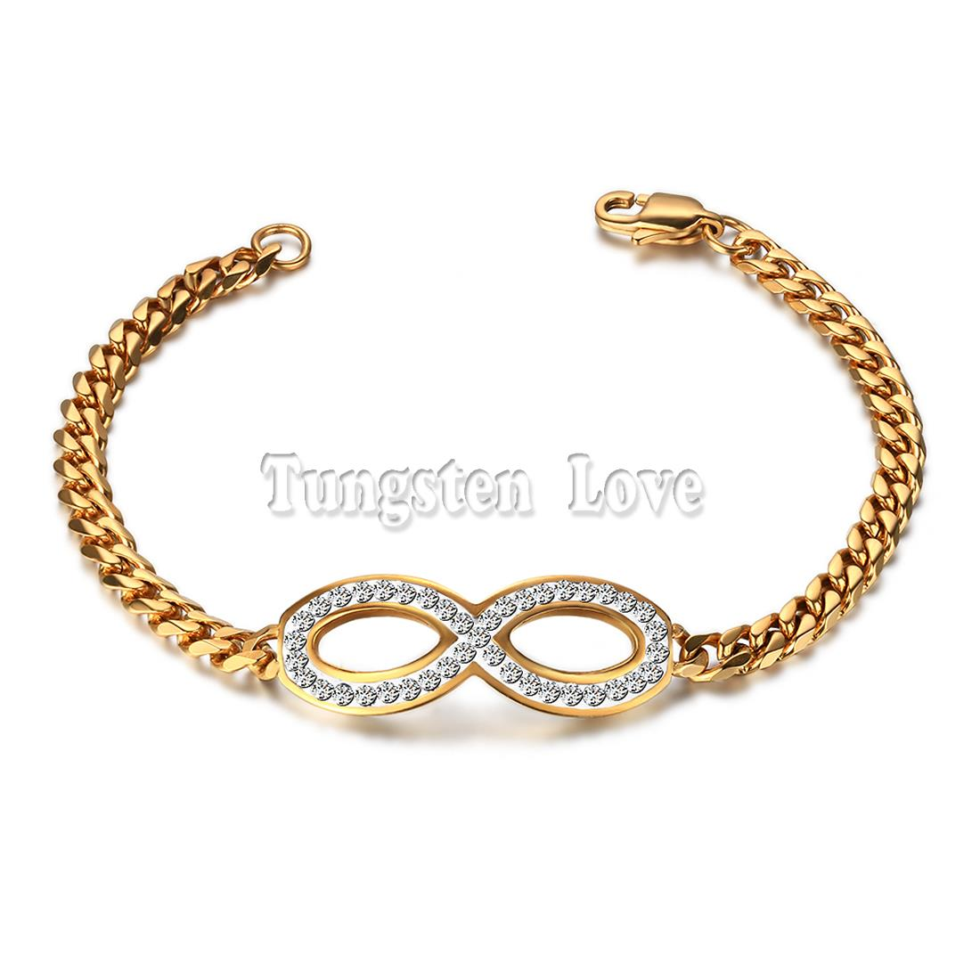 Fashion Gold Interlocking Infinity Charm Friendship Bracelet For Women With  Crystal 75 Inch Length For Girls