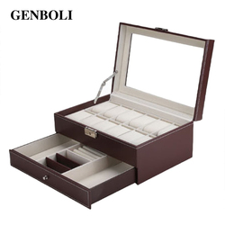 Genboli 12 grids jewelry casket large watches box leather packaging storage gift display stand holder organizer.jpg 250x250