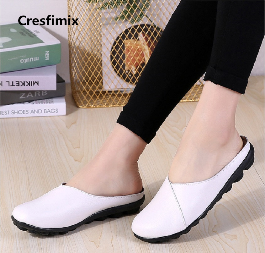 Cresfimix zapatos de mujer women fashion white slip on genuine leather flat shoes lady casual comfortable street shoes a2111 cresfimix women casual pu leather slip on flat shoes lady casual white flats female soft and comfortable loafers zapatos