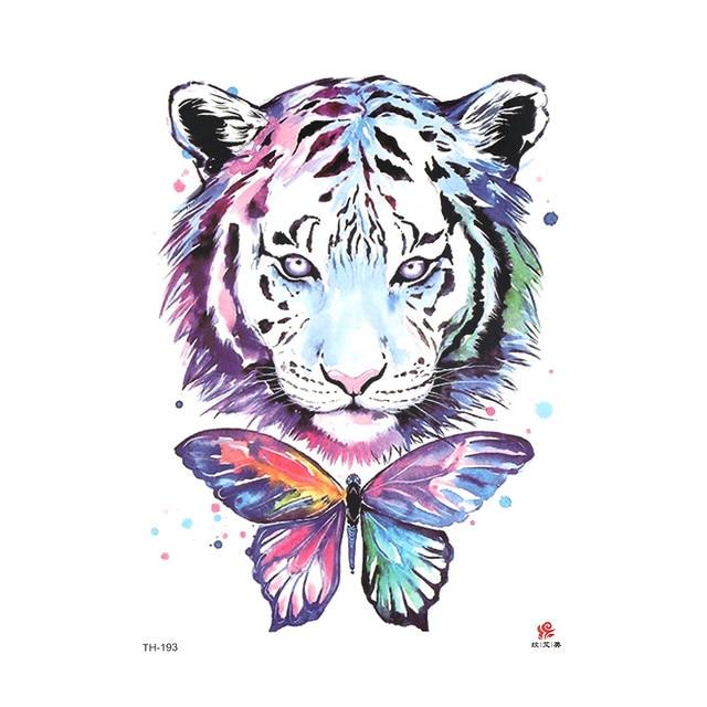 1pcs Temporary Tattoo Body Art Animals Watercolor Painting Drawing
