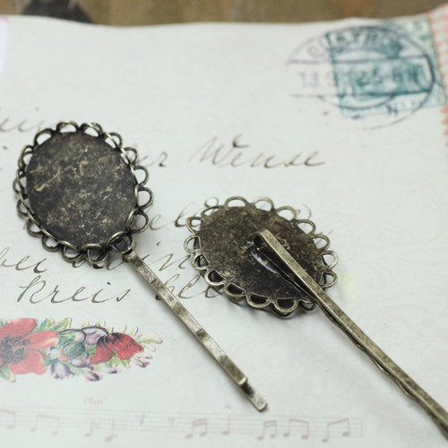 Cabochon Antique Bronze French Barrettes Hair Bobby Pin clips with 18*25mm Lace Pad Tray,DIY Jewelry Finding Accessories 100pcs