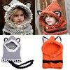 Cute Fox Winter Knitted Hats For Kids Trend Warm Children Beanie Shawl Cap Boys Girls Skull