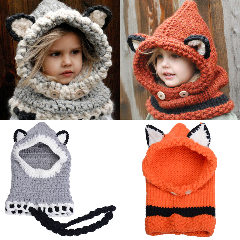 Cute Fox Winter Knitted Hats for Kids Trend Warm Children Beanie Shawl Cap Boys Girls Skull Scarf Caps Wool Shapka GH-140 super cute big five star cotton beanie hats skull cap for 1 4 years toddler infant baby winter children caps warm hat