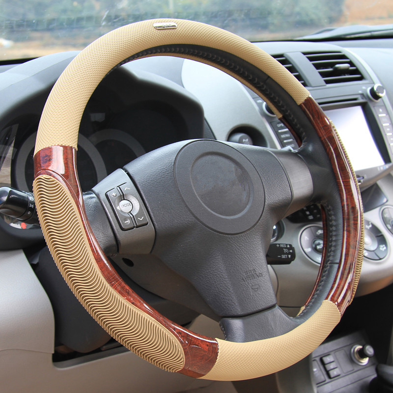 38cm Summer Anti-slip Car Steering Wheel Cover Breathable Imitation Peach Wood Auto Steering Cover Styling Case Beige все цены