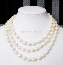 choker Women Gift word Love Jewelry Rice shape 8-9mm White freshwater pearl long necklace 50inch DIY handmade makin anime