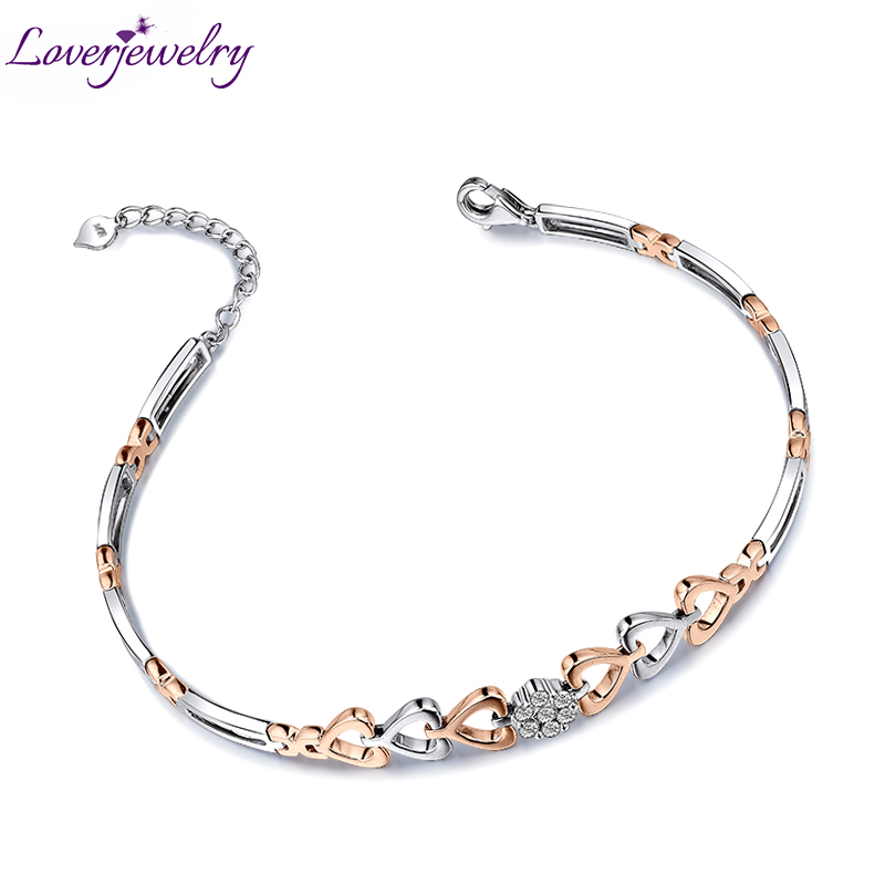 Heart to Heart Vintage 18Kt Two Tone Gold Natural Diamond Wedding Bracelet,Lovely Bracelet For Women NA0032 retro heart letter k bracelet for women