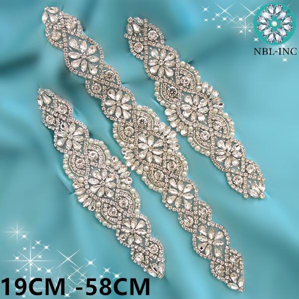 (1PC) Wedding Silver Crystal Rhinestone Applique Gold Bridal Beaded Applique Iron On For Wedding Dresses WDD0403-M