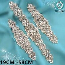 1 шт.) Свадебные Серебряные Кристаллы Стразы аппликация золотые свадебные аппликации с бисером железные для свадебных платьев WDD0403-M