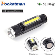 USB Led Flashlight Magnet Camping Lamp T6+COB Torch Rechargeable Led Lantern 4 Mode Waterproof Zoom 18650 Battery Flashlight(China)