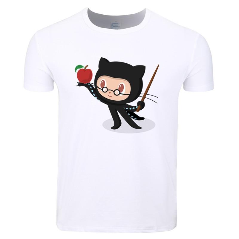 Asian Size Print Geek Programmer Github Social Coding Fashion T-shirt O-Neck Short Sleeve Summer Casual T-shirt HCP4296