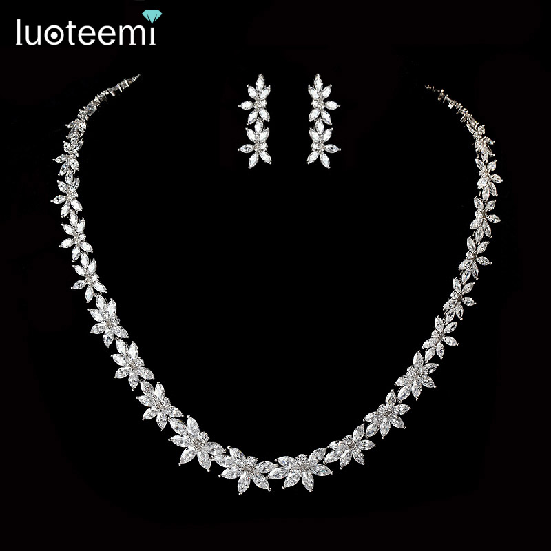 LUOTEEMI Women Elegant and Luxury White Gold-Color Water Drop Shape Cubic Zircon Earrings Necklace Wedding Bridal Jewelry Set a suit of elegant rhinestone water drop necklace and drop earrings for women