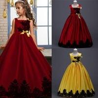 Moda Infantil Da Criança Meninas Rendas Flor de Cetim Casamento Xmas Pageant Festa Formal Vestido Sem Mangas Bowknot Vestido Vestido Longo Vestidos