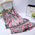 Sexy Women's  Lace Nightwear V-Neck Pajamas Sets Two Pieces Tops and Shorts Summer Style Sleepwear Pijamas Set Lady