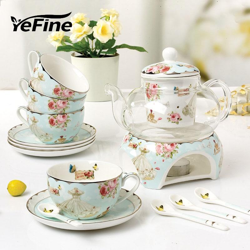 YeFine Ceramic 15 PCS Flower Tea Set British Afternoon Black Tea Set Heatable Glass Teapot Bone China Tea Cups And Saucers