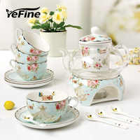 YeFine Ceramic 15 PCS Flower Tea Set British Afternoon Black Tea Set Heatable Glass Teapot Bone China Tea Cups And Saucers