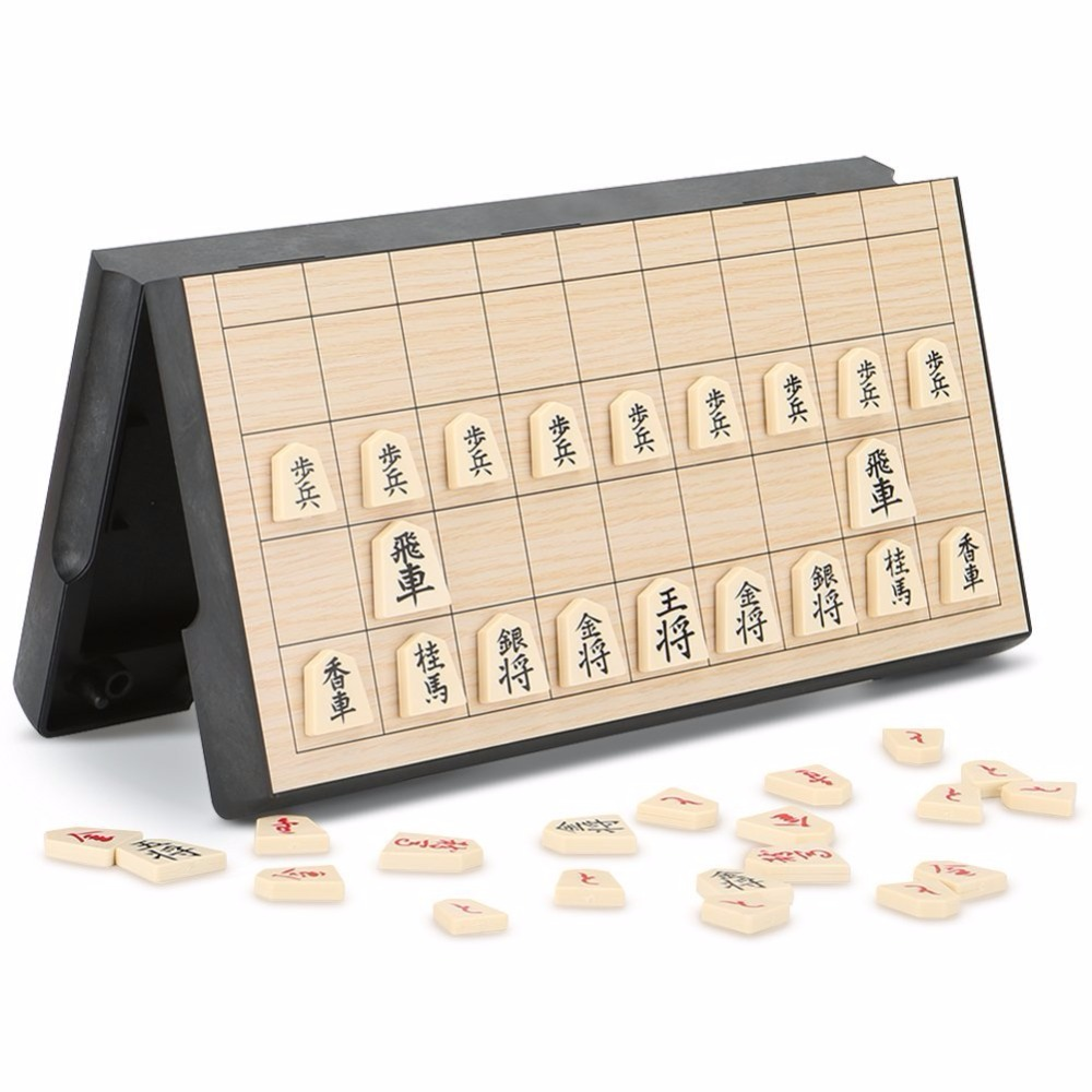 Foldable Magnetic Folding Shogi Set Boxed Portable Japanese Chess Game Sho-gi Exercise Logical Thinking 25*25*2 Cm