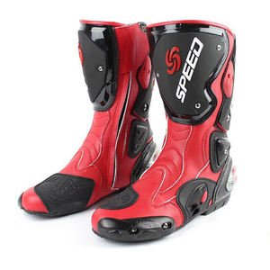 Image 2 - Motorcycle boots men speed 4 seasons Protective Gears moto shoes Black red white motorcycling boot motocross boots
