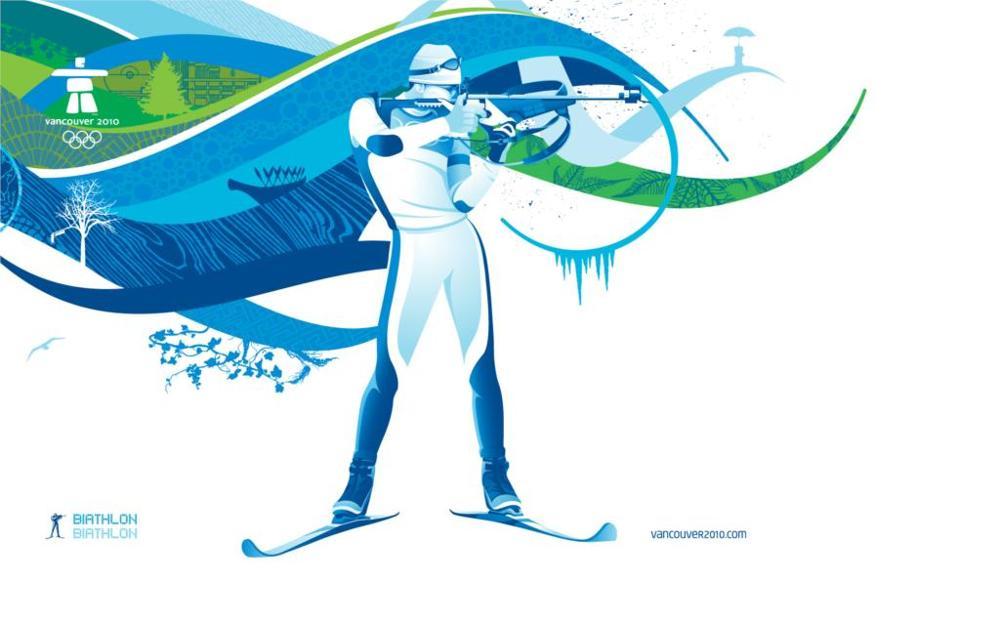 venta de bienes pintura lienzo arte de la pared cuadros deportes juegos olmpicos de vancouver en biathlon hombres t