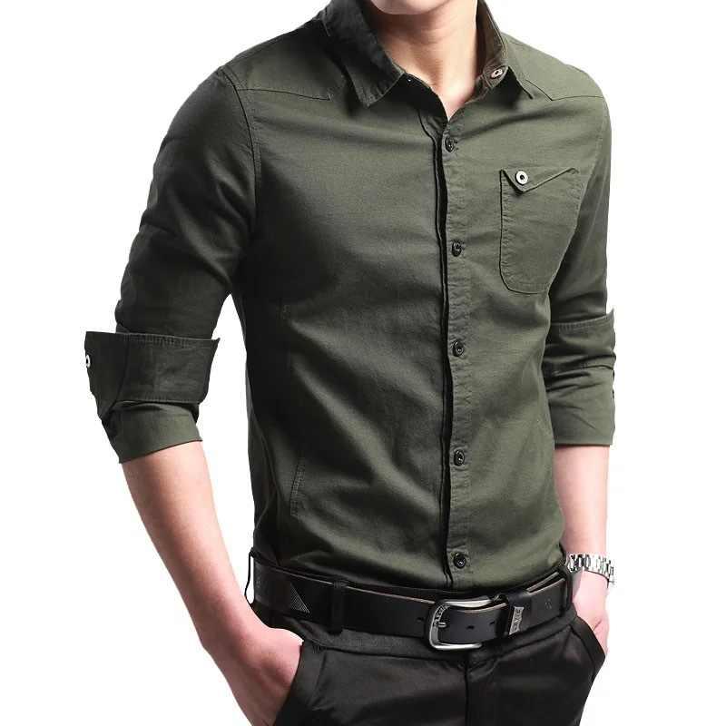 남성용 셔츠 새로운 얇은 통기성 군사 남성 셔츠 긴 소매 슬림 남성 셔츠 여름 2019 비즈니스 남성 브랜드 의류