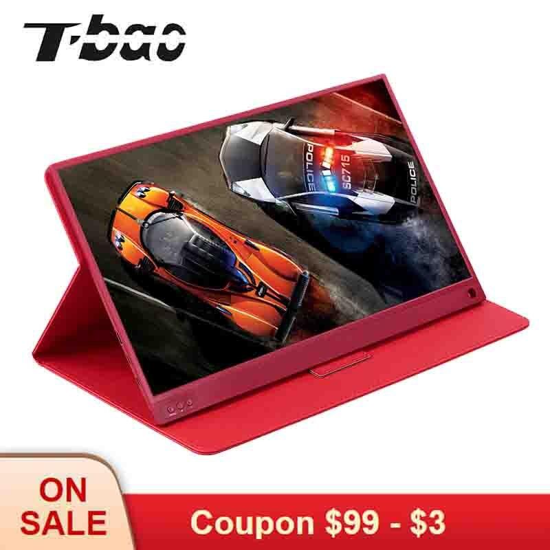 Moniteur Portable t-bao moniteur de jeu écran d'extension PC 1920x1080 HD IPS moniteur LED d'affichage 15.6 pouces avec étui en cuir