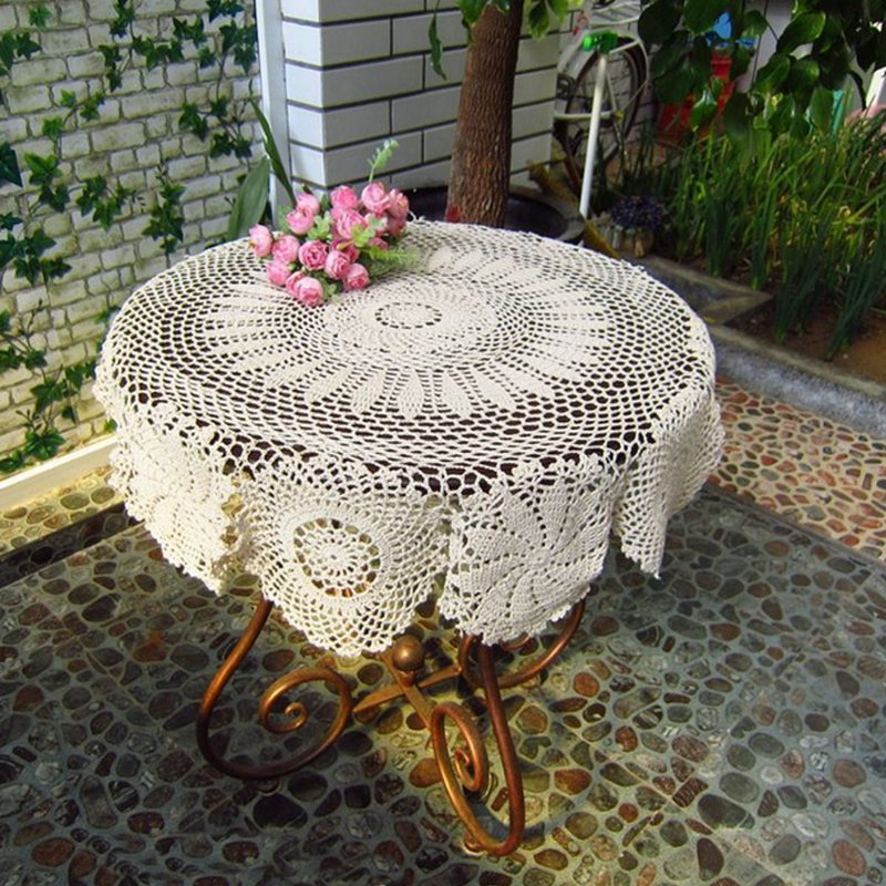 1Pcs Cotton Mat Hand Crocheted Lace Doilies Flower Shape Coasters Cup Mug Pads Home Coffee Shop