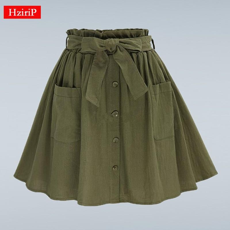 HziriP Women Skirts Vintage High Waist Pocket Solid Bow Belt Midi Skirt New Arrival Summer Europe Army Green Girls Skirt Faldas