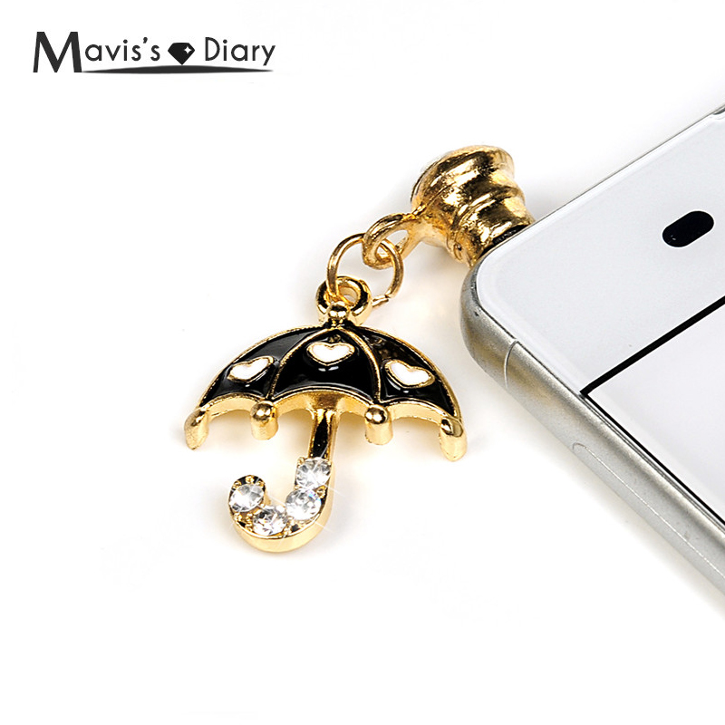 Universal 3.5mm Diamond Dust Plug Mobile Phone accessories Heart Umbrella Earpho
