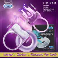 Durex Vibrating Ring 3 in 1 Male Longer Lasting Vibrator Ejaculation Delay Lock Tongue Clitoris Testis Stimulate Adult Sex Toys