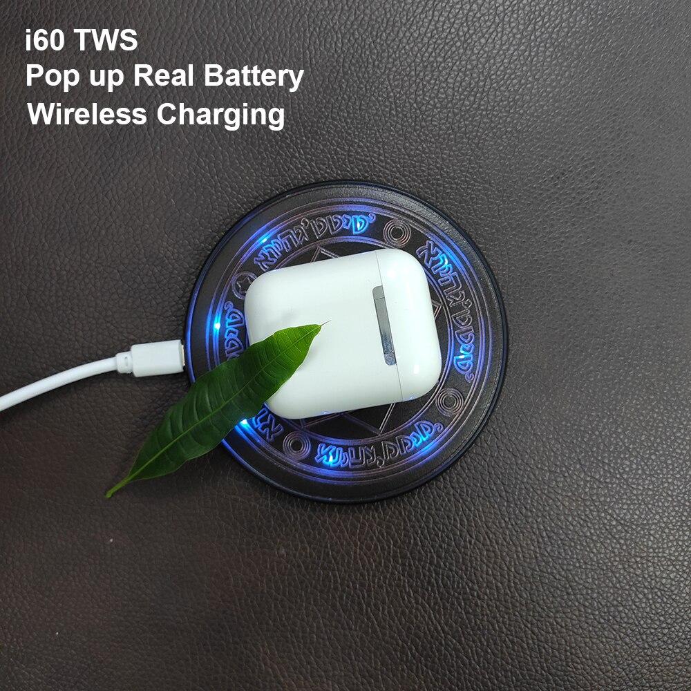 I60 TWS Pop up 1:1 réplique utilisation séparée sans fil écouteur QI sans fil charge Bluetooth 5.0 écouteurs basse écouteurs PK i20 i12