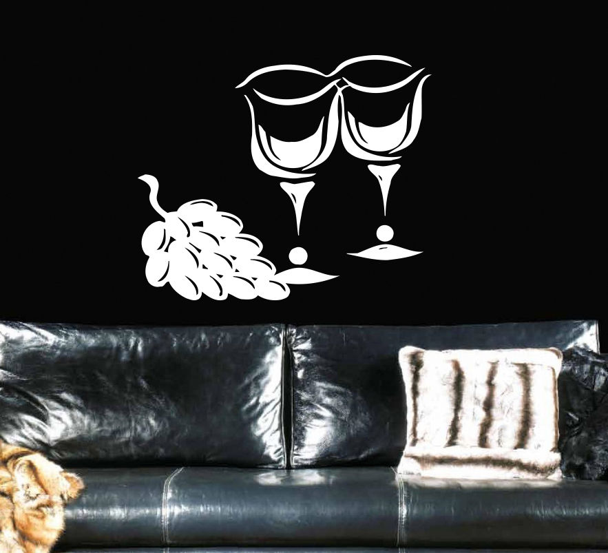 ᗕcafe Stemware Cup Food Restaurant Wine Grapes Stylish Wall Art