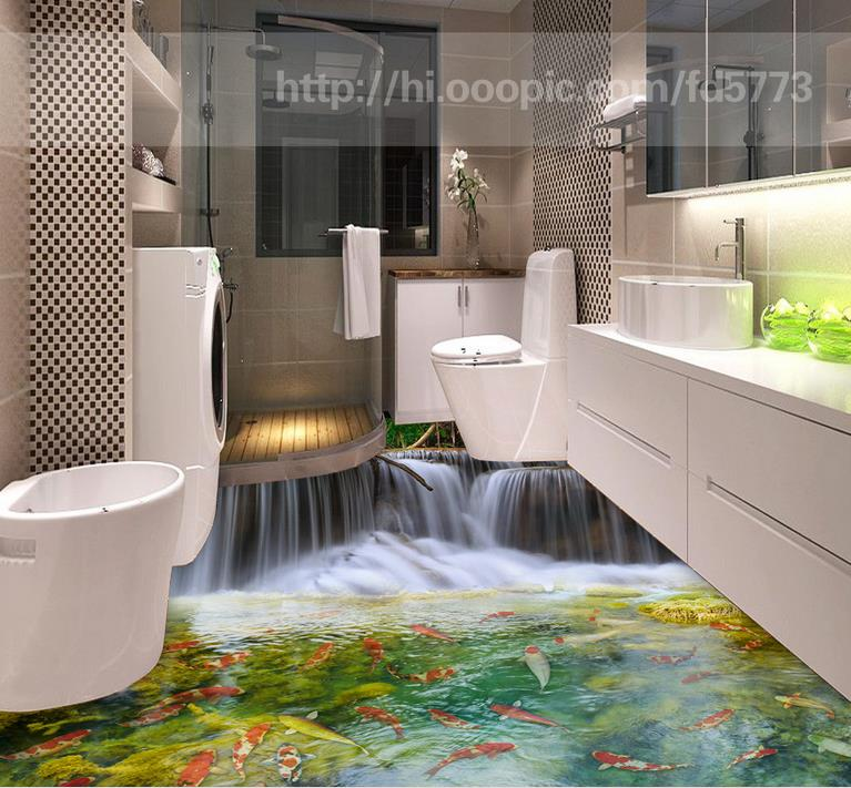 3d Floor Custom Wallpaper Self Adhesive Carp Waterfall Pvc Vinyl