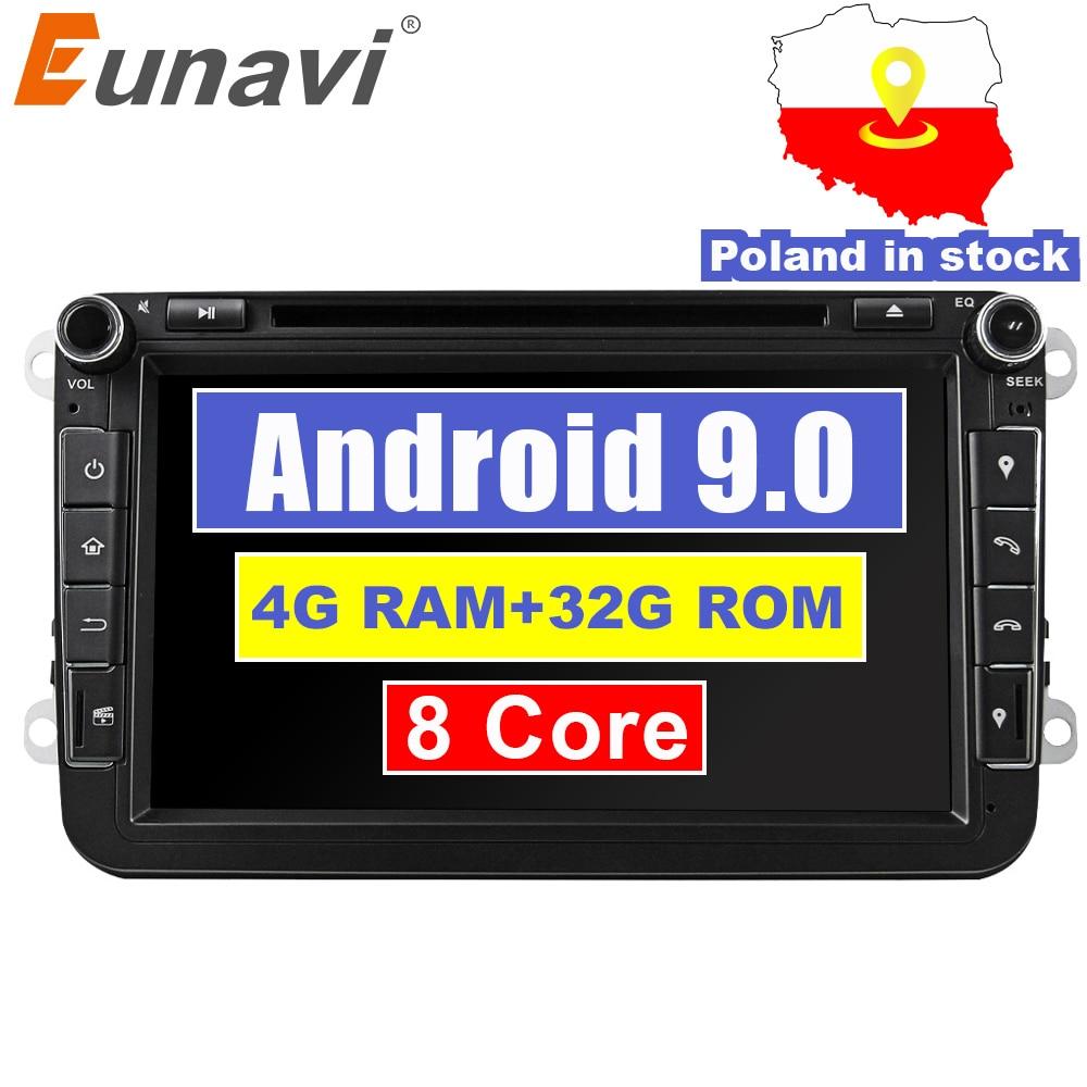 Eunavi 2din Android 9.0 Octa Core 4 GB RAM voiture DVD pour VW Passat CC Polo GOLF 5 6 Touran EOS T5 Sharan Jetta Tiguan GPS Radio bt