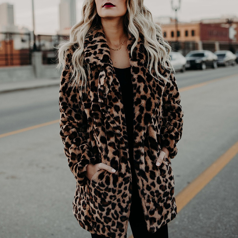 Women Winter Warm Coats Jackets Ladies Leopard Print Faux Fur Jumper Coat Feminina Blusas Mujer De Moda Chemise Femme
