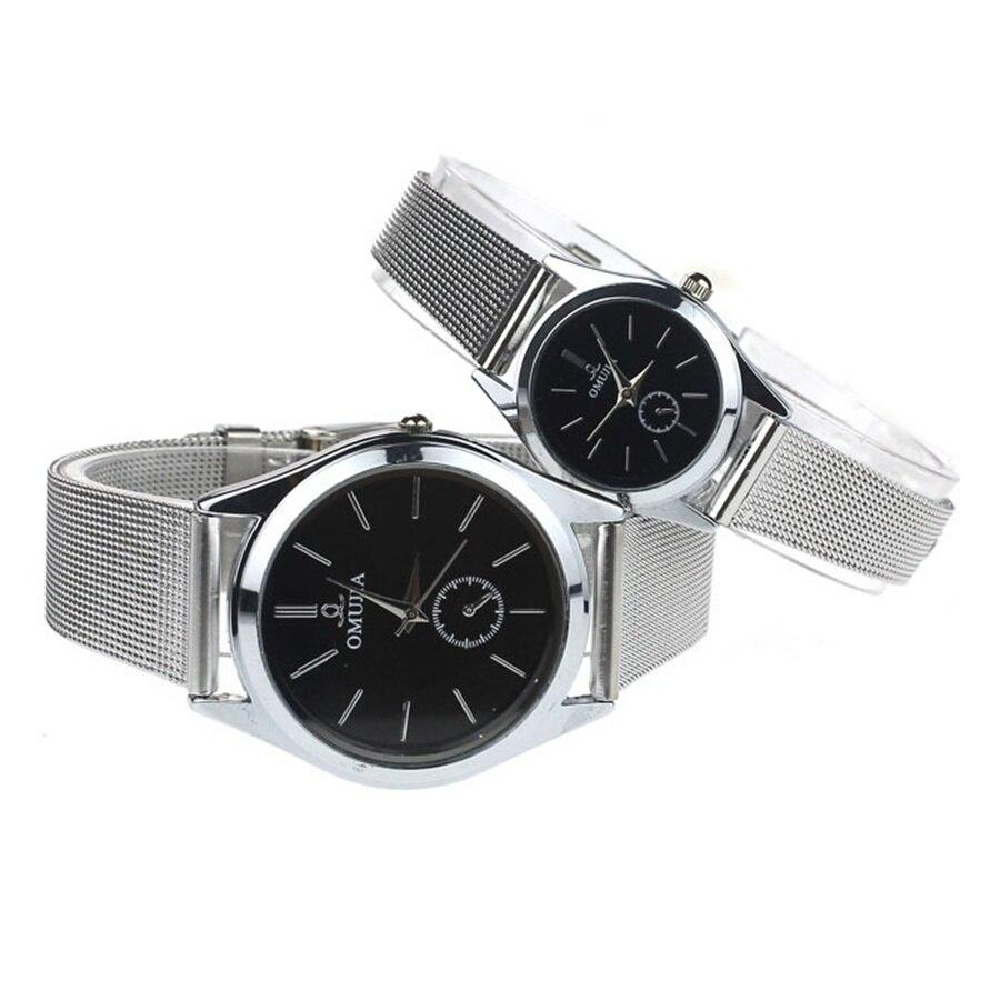New Develop Black Dial Couple Lover Men Women Stainless Steel Quartz Thin Mesh Belt Wrist Watches Relogios Men & Women Watches